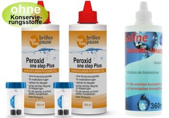 Peroxid one step Plus NEU Multipack (2x 360 + 1x 360ml Kochsalzlösung)